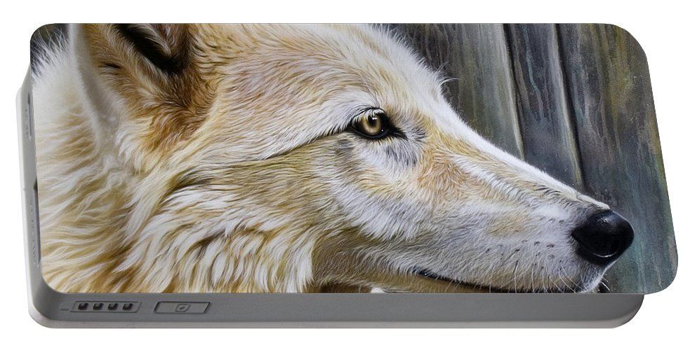 Wolves Portable Battery Charger featuring the painting Rose by Sandi Baker