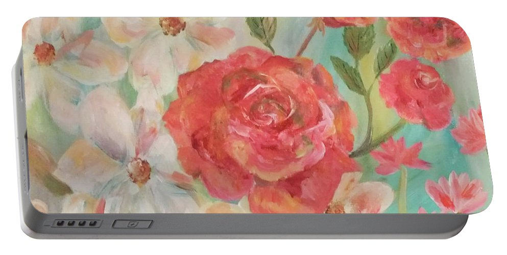 White Portable Battery Charger featuring the painting Roses And Flowers by Linda Watson