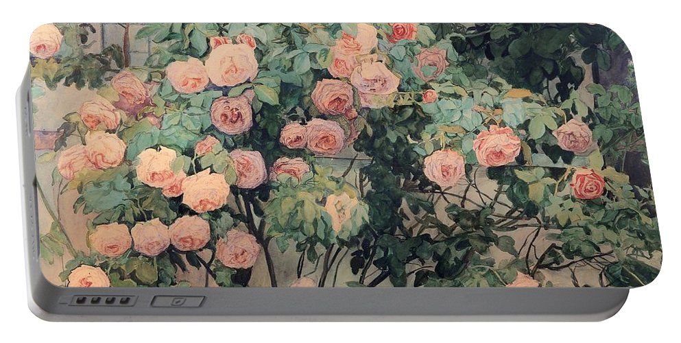 Painting Portable Battery Charger featuring the painting Roses by Mountain Dreams