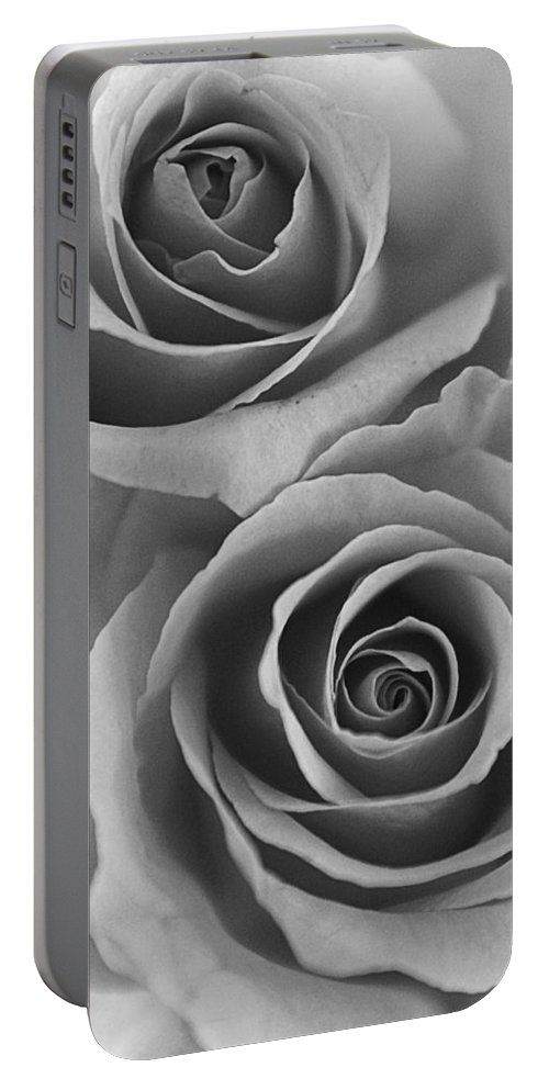 Roses Portable Battery Charger featuring the photograph Roses Black And White by Jill Reger