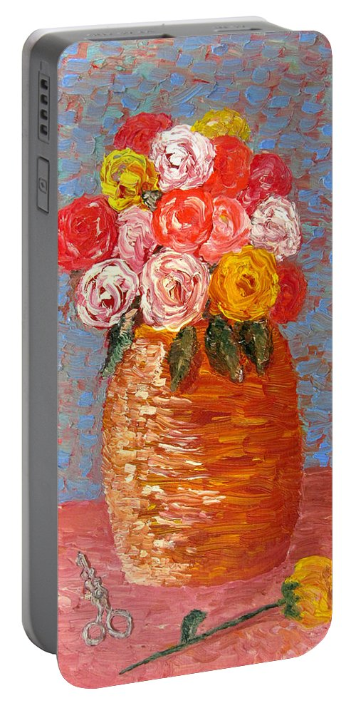 Flowers Portable Battery Charger featuring the painting Roses by Danny Lowe