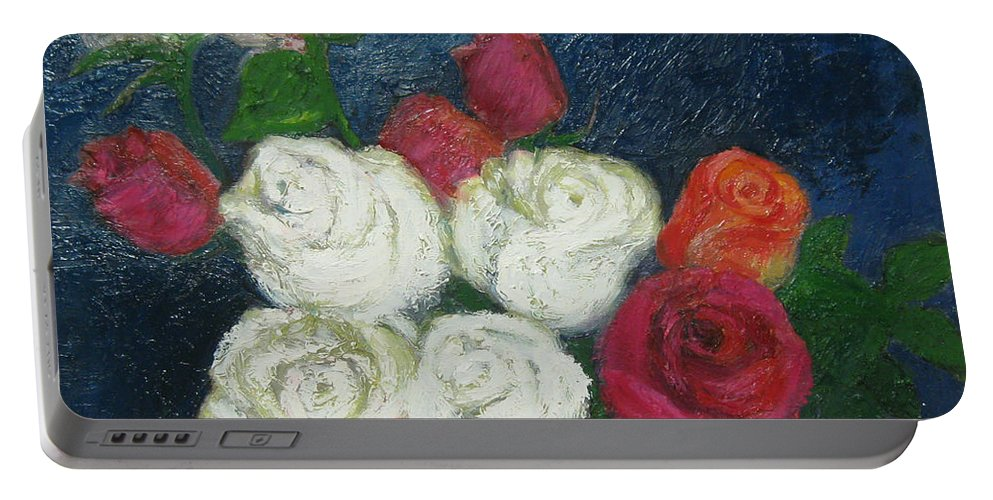 Roses Portable Battery Charger featuring the painting Roses I by Meihua Lu
