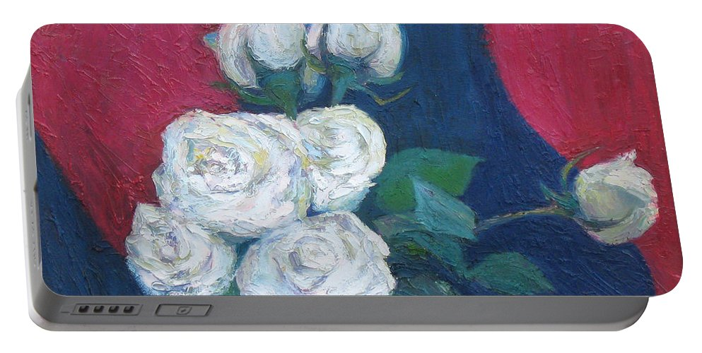 Roses Portable Battery Charger featuring the painting Roses II by Meihua Lu