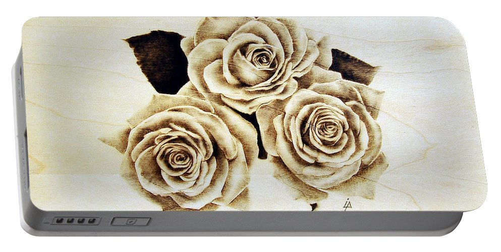Pyrography Portable Battery Charger featuring the pyrography Roses by Ilaria Andreucci