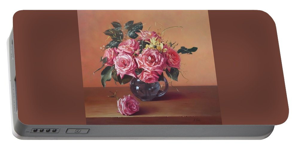 Rose Portable Battery Charger featuring the painting Roses In Glass by Aniko Vida