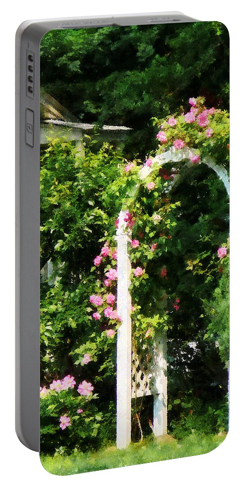 Trellis Portable Battery Charger featuring the photograph Roses On Trellis by Susan Savad