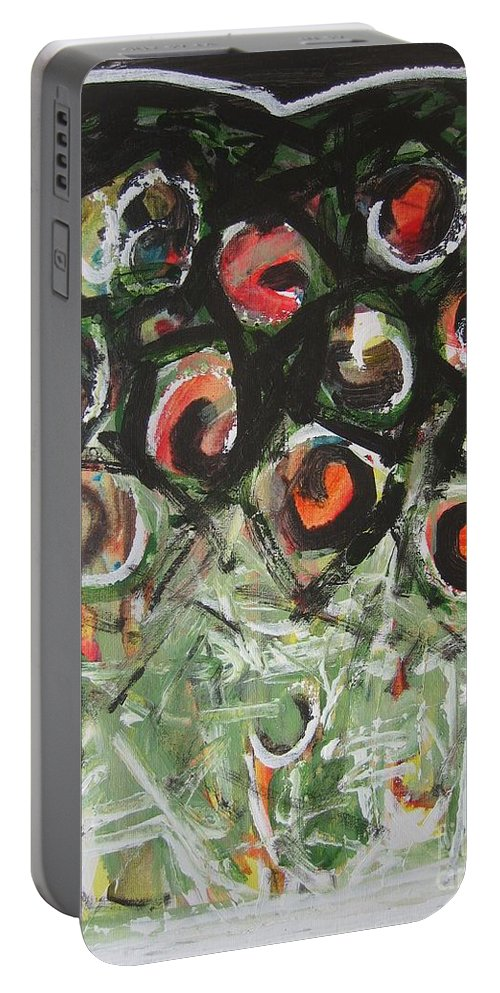 Abstract Painting Portable Battery Charger featuring the painting Roses by Seon-Jeong Kim