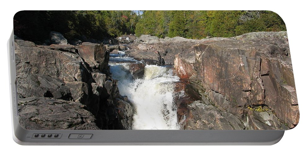 Waterfall Portable Battery Charger featuring the photograph Rosetone Falls by Kelly Mezzapelle