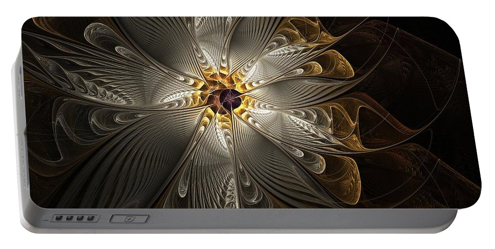 Digital Art Portable Battery Charger featuring the digital art Rosette In Gold And Silver by Amanda Moore