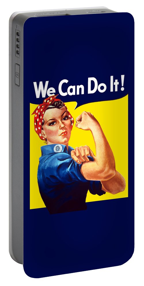 Rosie The Riveter Portable Battery Charger featuring the painting Rosie The Rivetor by War Is Hell Store