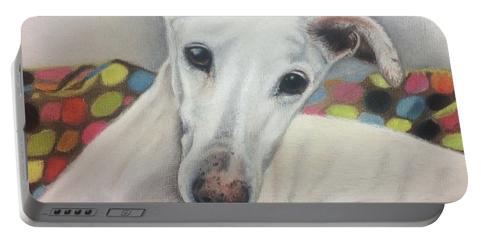 Dog Portable Battery Charger featuring the pastel Rossi by Sharon Macdonald