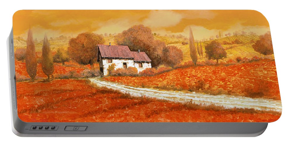 Tuscany Portable Battery Charger featuring the painting I papaveri rossi by Guido Borelli