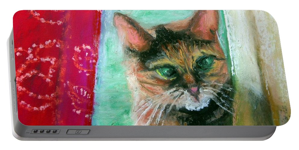Cat Portable Battery Charger featuring the painting Rosy In Color by Minaz Jantz