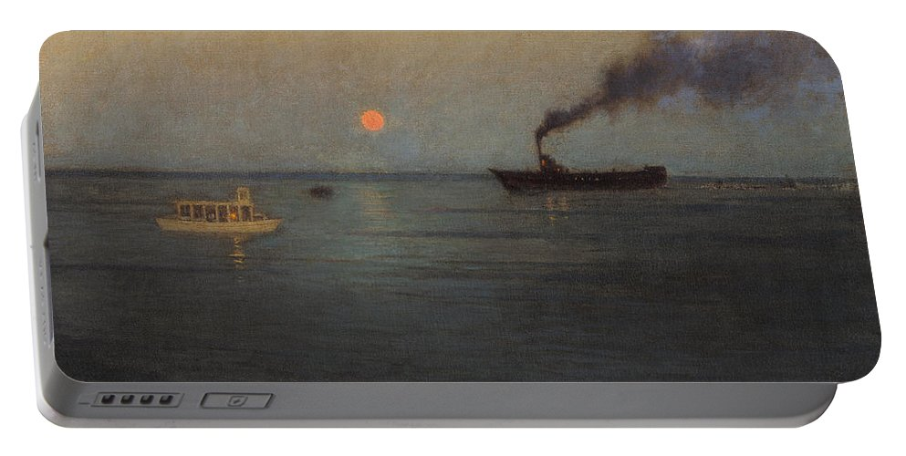 Lowell Birge Harrison Portable Battery Charger featuring the painting Rosy Moon Off Charleston Harbor by Lowell Birge Harrison