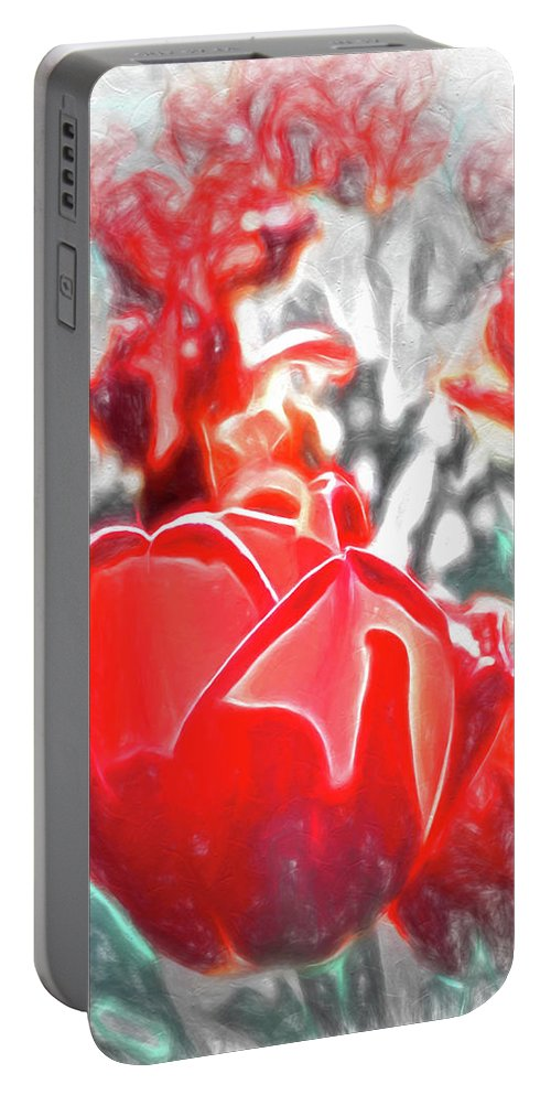 Floral Portable Battery Charger featuring the photograph Rosy Swirl by Jim Love