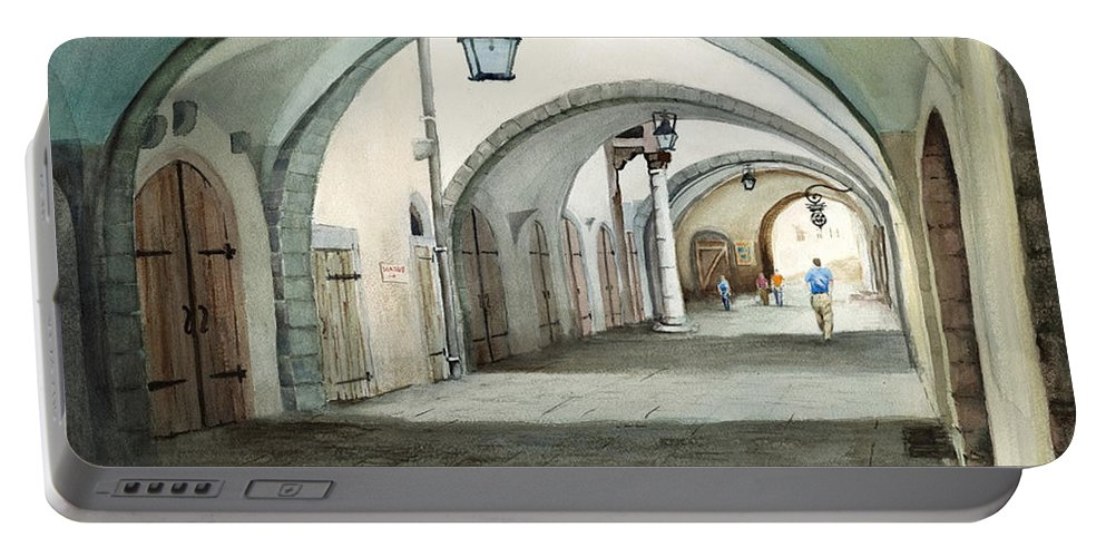 Germany Portable Battery Charger featuring the painting Rothenburg Backstreet by Sam Sidders