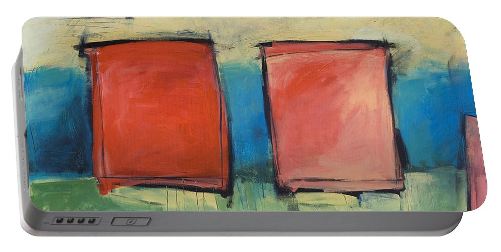 Rothko Portable Battery Charger featuring the painting Rothko Meets Hitchcock by Tim Nyberg