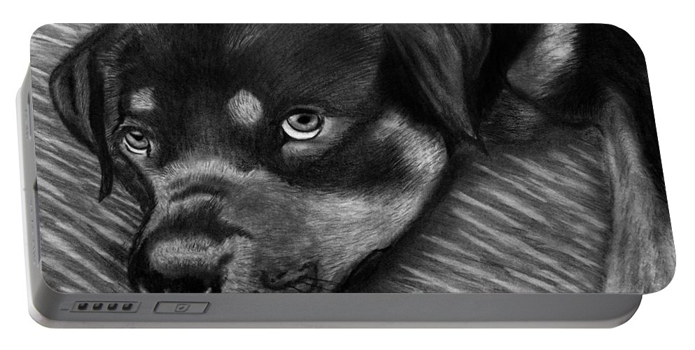 Rot Wilier Portable Battery Charger featuring the drawing Rotty by Peter Piatt