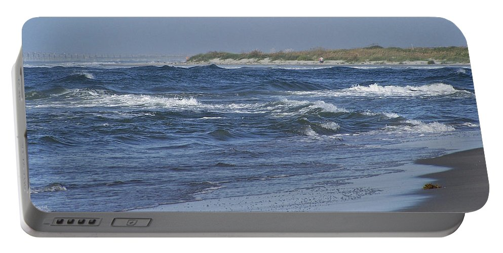 Ocean Portable Battery Charger featuring the photograph Rough Day At The Beach by Teresa Mucha
