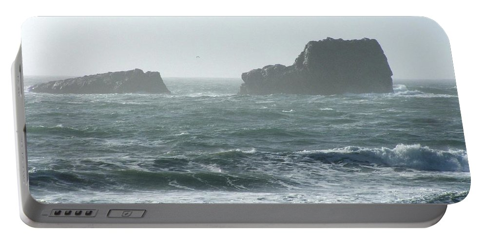 Oceanes Portable Battery Charger featuring the photograph Rough Waters by Shari Chavira