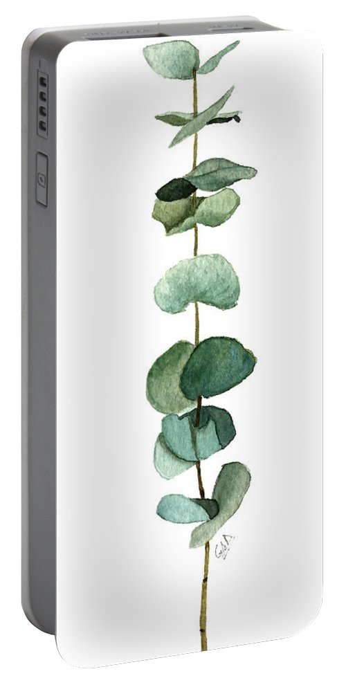 Eucalyptus Portable Battery Charger featuring the painting Round Leaf Eucalyptus Twig by Garima Srivastava