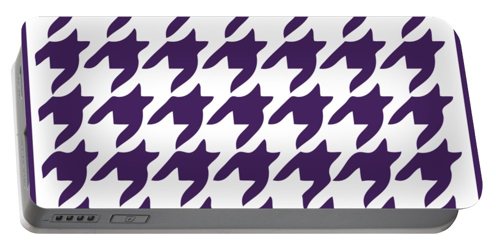 Rounded Houndstooth Portable Battery Charger featuring the digital art Rounded Houndstooth With Border In Purple by Custom Home Fashions