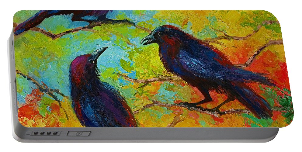 Crows Portable Battery Charger featuring the painting Roundtable Discussion - Crows by Marion Rose