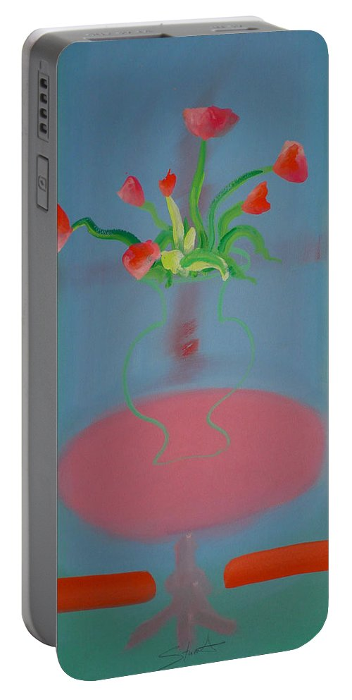 Flower Portable Battery Charger featuring the painting Rouseau Flowers by Charles Stuart