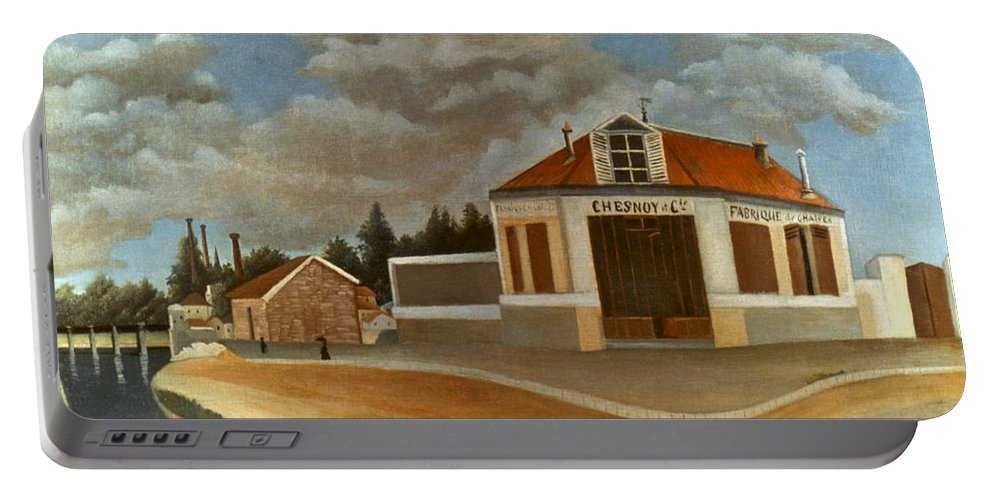 1897 Portable Battery Charger featuring the photograph Rousseau: Factory, C1897 by Granger