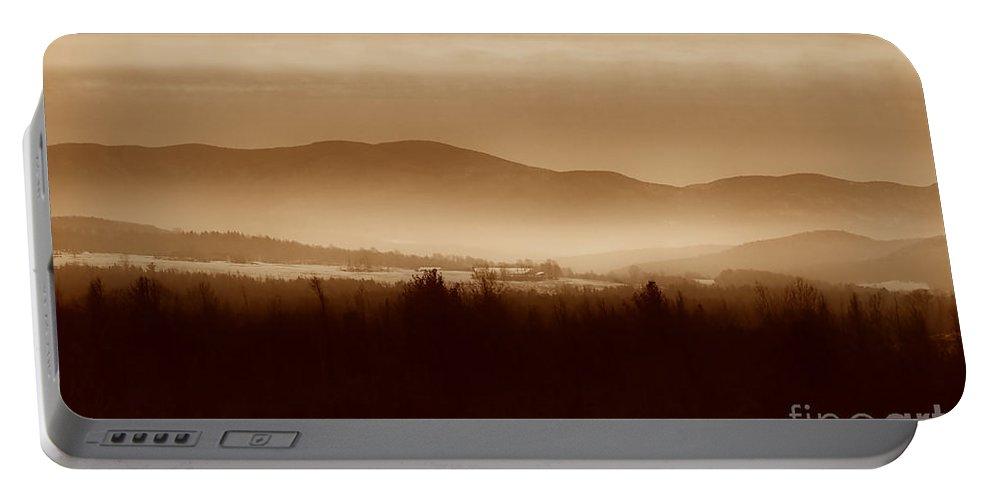 Landscape Portable Battery Charger featuring the photograph Route 120 Vermont View by Deborah Benoit