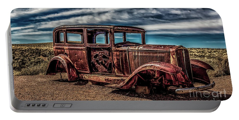 Antique Portable Battery Charger featuring the photograph Route 66 Car by Jon Burch Photography