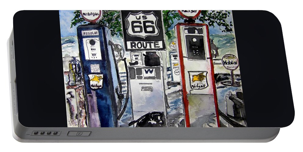 Route 66 Portable Battery Charger featuring the painting Route 66 by Derek Mccrea