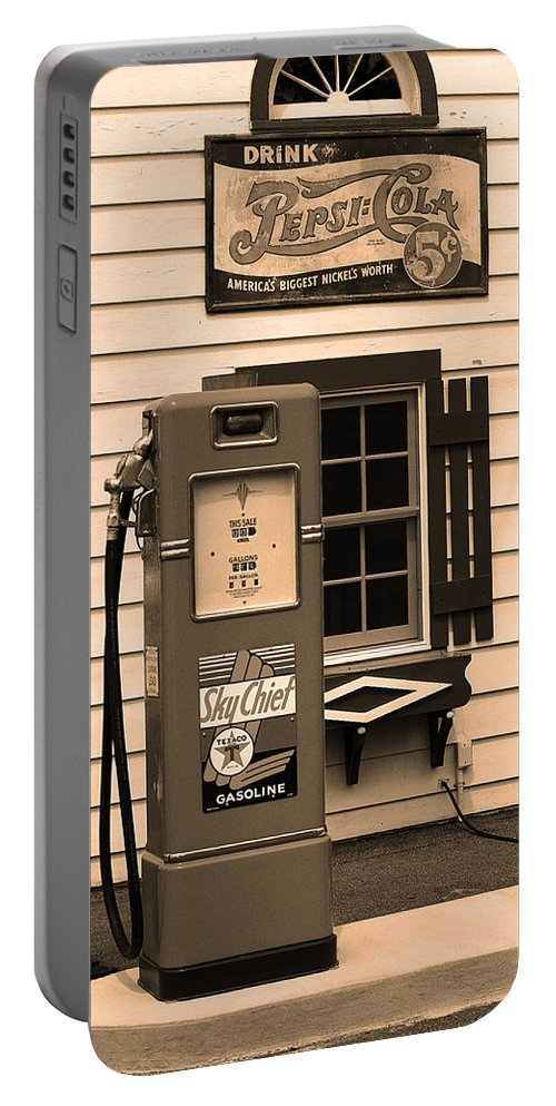 66 Portable Battery Charger featuring the photograph Route 66 - Illinois Vintage Pump Sepia by Frank Romeo