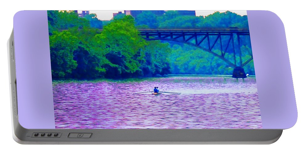 Philadelphia Portable Battery Charger featuring the photograph Row Row Row Your Boat by Bill Cannon