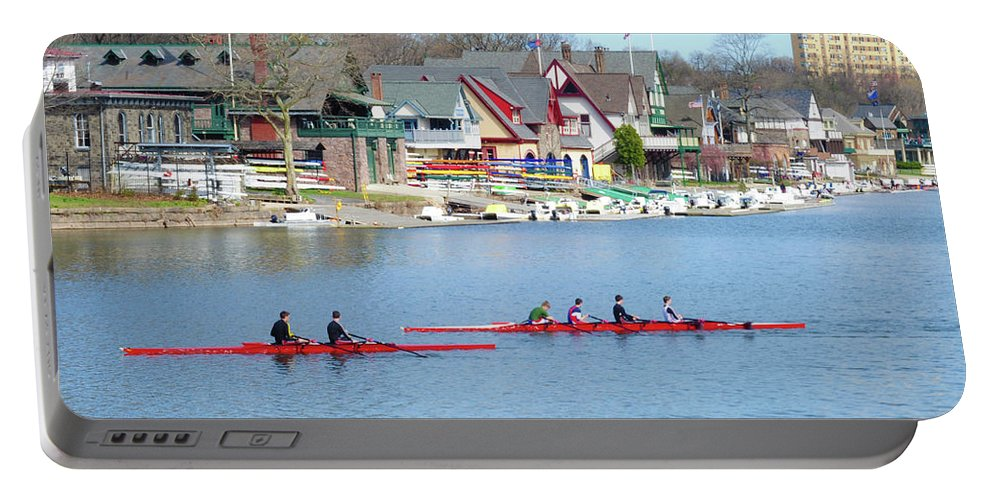 Rowers Portable Battery Charger featuring the photograph Rowing Along The Schuylkill River by Bill Cannon