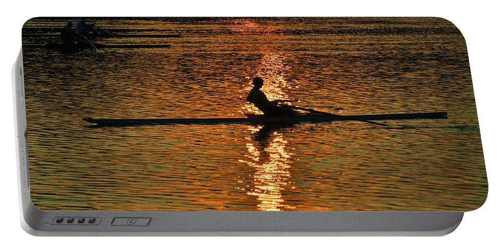 Philadelphia Portable Battery Charger featuring the photograph Rowing At Sunset 3 by Bill Cannon
