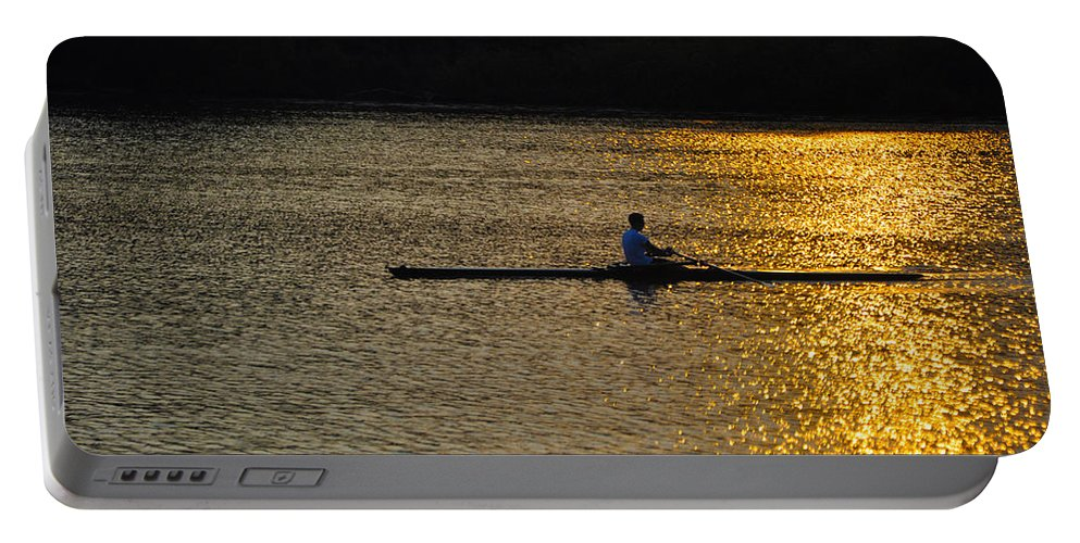 Philadelphia Portable Battery Charger featuring the photograph Rowing At Sunset by Bill Cannon