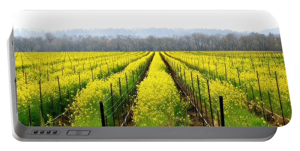 Mustard Portable Battery Charger featuring the photograph Rows Of Wild Mustard by Tom Reynen