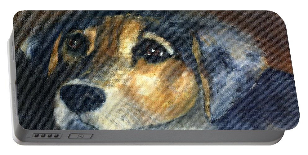 Dog Portable Battery Charger featuring the painting Roxie by Gail Kirtz