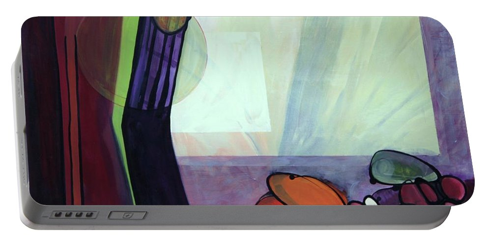 Abstract Portable Battery Charger featuring the painting Roxie by Marlene Burns