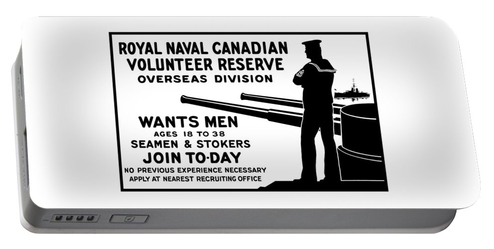 World War One Portable Battery Charger featuring the mixed media Royal Naval Canadian Volunteer Reserve by War Is Hell Store