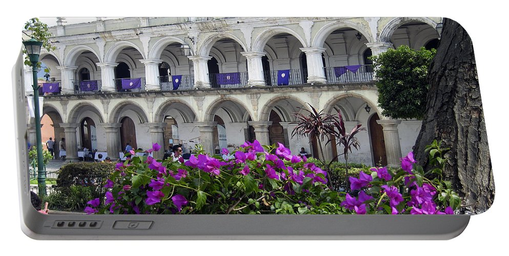 Palace Portable Battery Charger featuring the photograph Royal Palace Old Antigua by Kurt Van Wagner