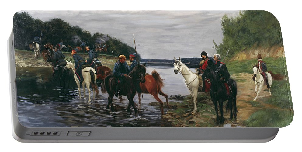 Horses Portable Battery Charger featuring the painting Rubicon. Crossing The River By Denis Davydov Squadron. 1812. by Simon Kozhin