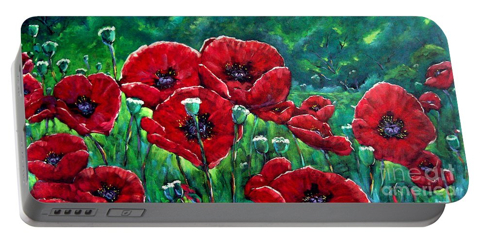 Forest Portable Battery Charger featuring the painting Rubies In The Emerald Forest by Richard T Pranke