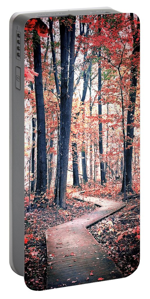 Forest Portable Battery Charger featuring the photograph Ruby Forest by Shawna Rowe