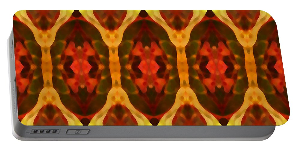 Abstract Portable Battery Charger featuring the painting Ruby Glow Pattern by Amy Vangsgard