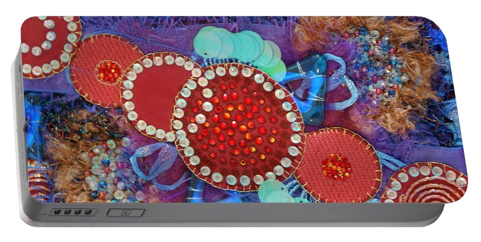 Portable Battery Charger featuring the mixed media Ruby Slippers 2 by Judy Henninger