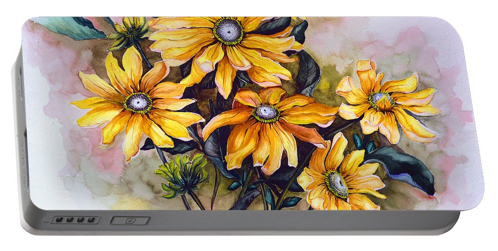 Flower Painting Sun Flower Painting Flower Botanical Painting  Original Watercolor Painting Rudebeckia Painting Floral Painting Yellow Painting Greeting Card Painting Portable Battery Charger featuring the painting Rudbeckia Prairie Sun by Karin Dawn Kelshall- Best