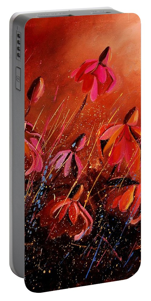 Poppies Portable Battery Charger featuring the painting Rudbeckia's 45 by Pol Ledent