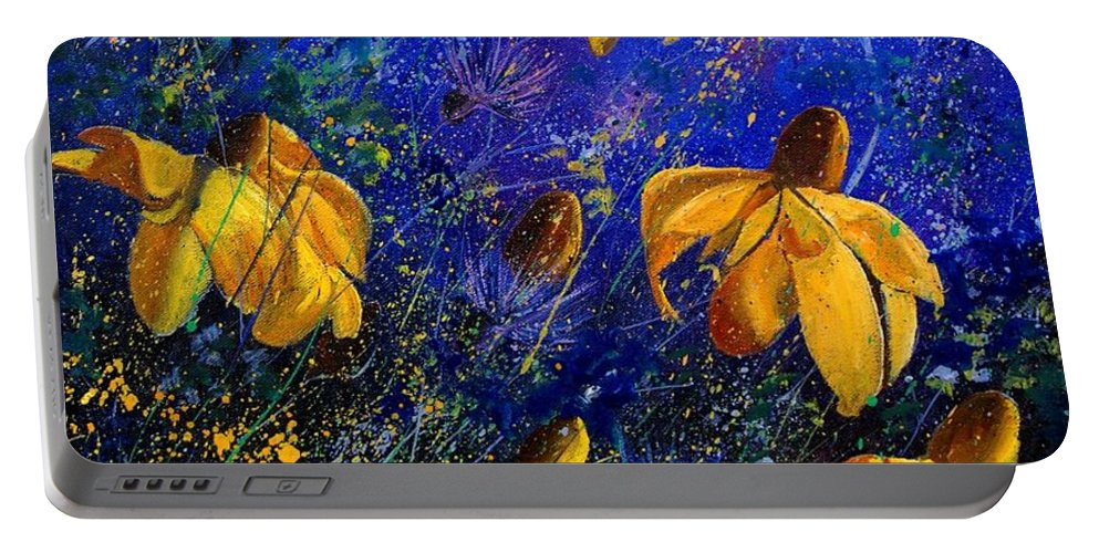 Poppies Portable Battery Charger featuring the painting Rudbeckia's by Pol Ledent